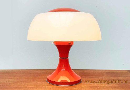 Ecolight mushroom table lamp concave red-orange aluminium base white acrylic lampshade design: Gaetano Sciolari Italy 1960s