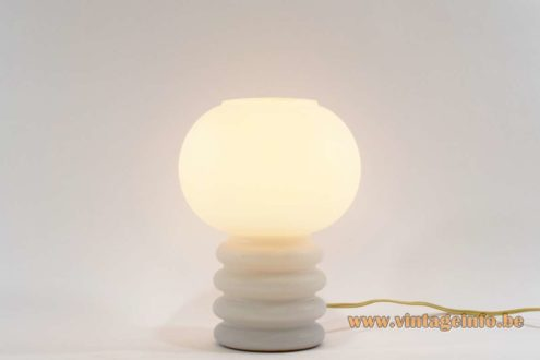 Glashütte Limburg Bulb Table Lamp - 1960s De Rupel Glass Table Lamp