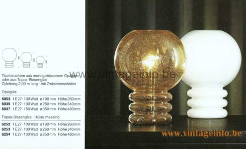 Glashütte Limburg Bulb Table Lamp - 1979 Catalogue Picture