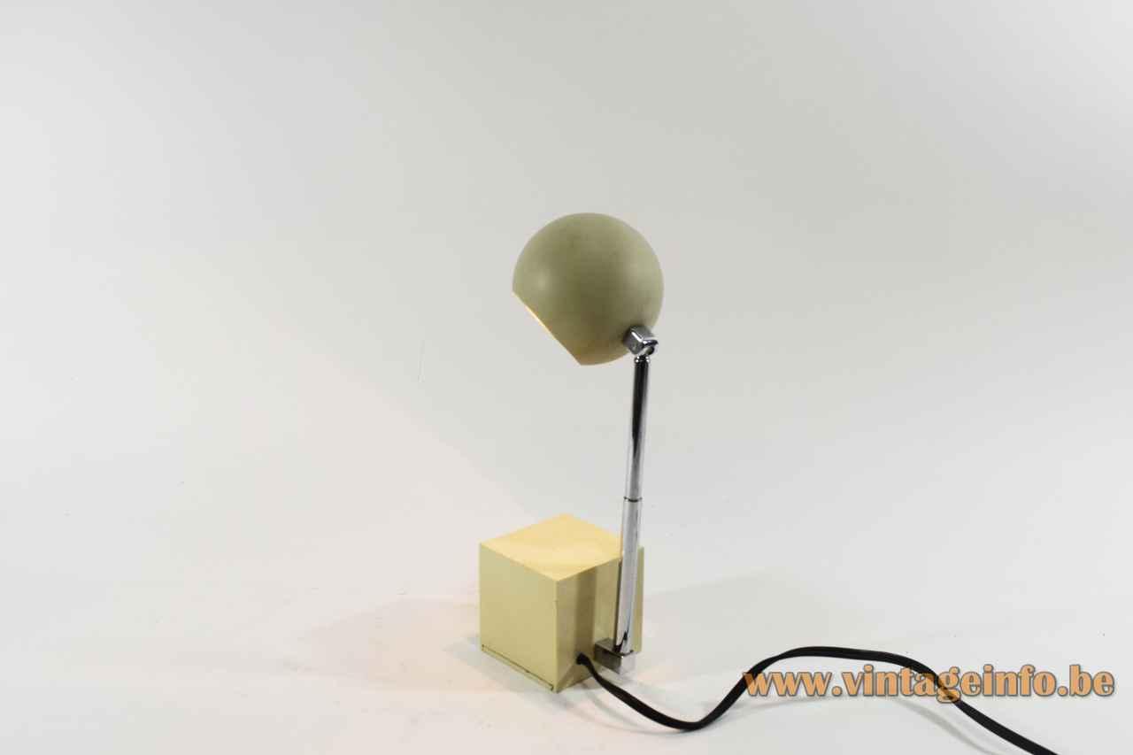Lightolier Lytegem desk lamp cube base extendable chrome antenna rod globe lampshade 1965 design: Michael Lax