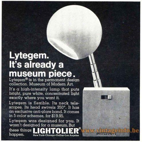 Lightolier Lytegem Desk Lamp - Advertisement & Catalogue Pictures