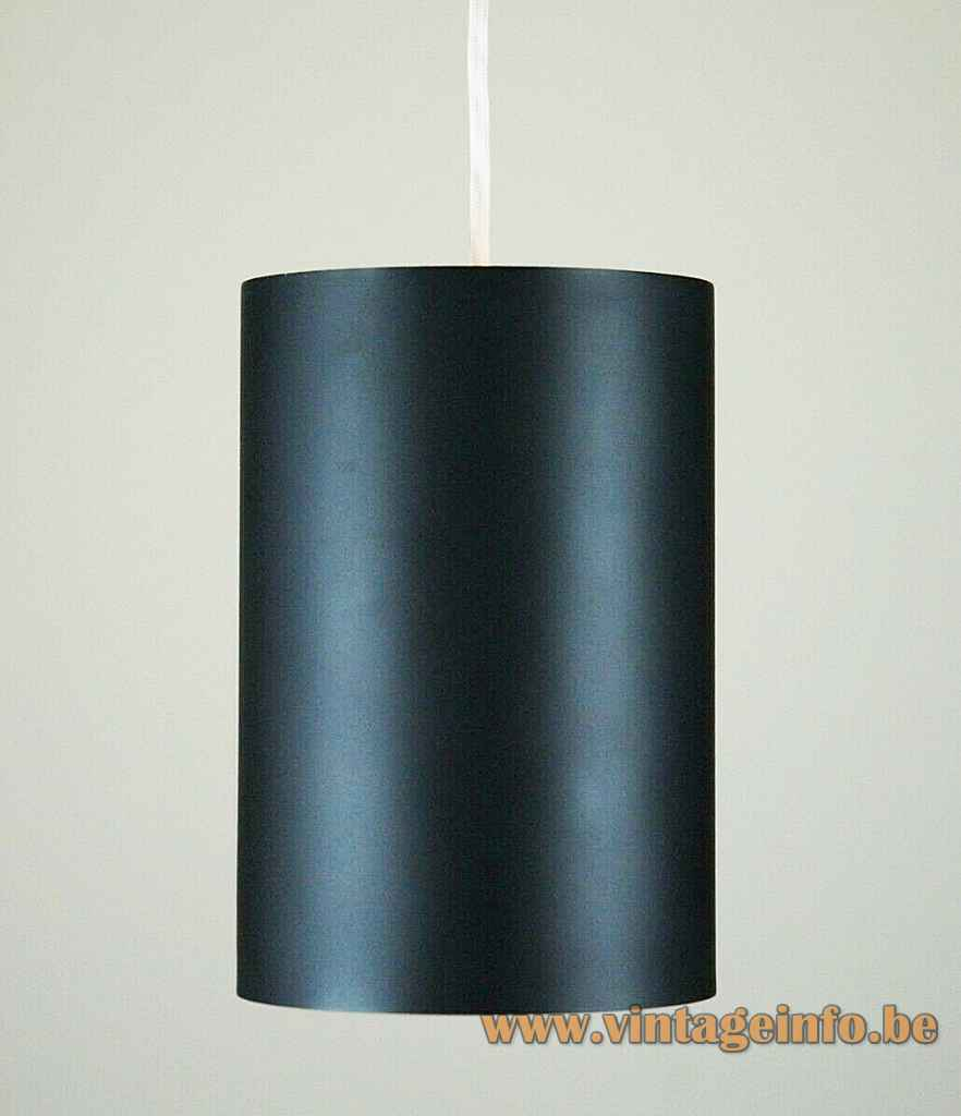 Louis Poulsen cylinder pendant lamp model 16512 black tubular lampshade design: Eila & John Meiling 1960s Denmark