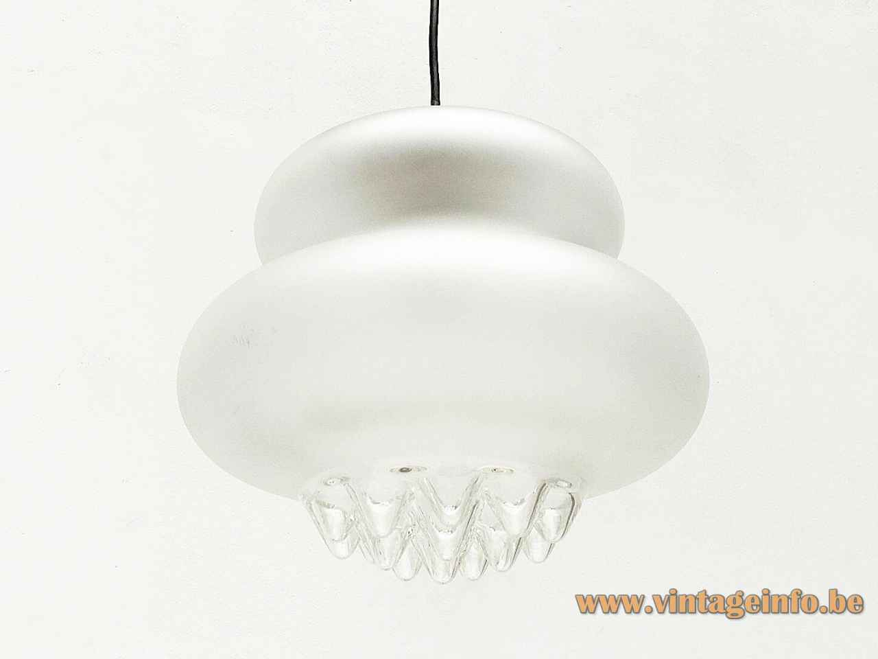 Peill + Putzler AH 43 pendant lamp frosted pumpkin glass lampshade clear droplet icicle bottom 1970s Germany