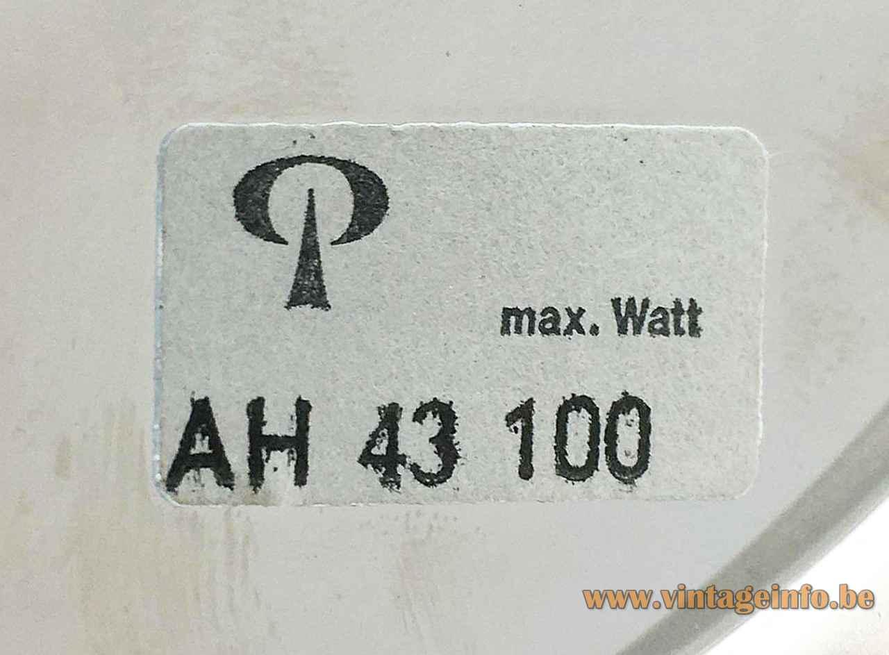 Peill + Putzler AH 43 pendant lamp label logo maximum 100 watt 1970s Germany