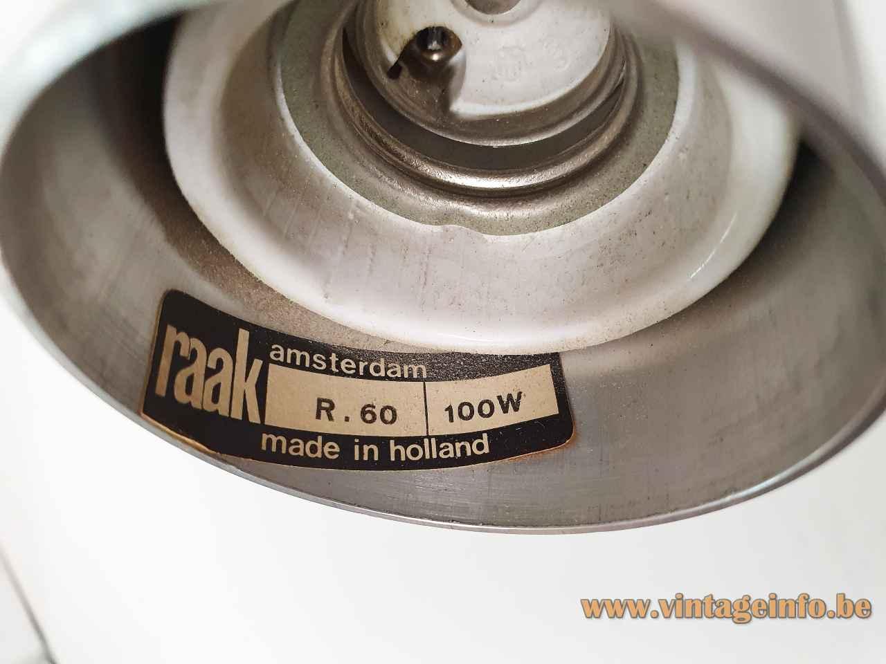 Raak Krekel table lamp cricket label logo R-60 100 Watt 1960s design: Otto Wasch 1970s Netherlands