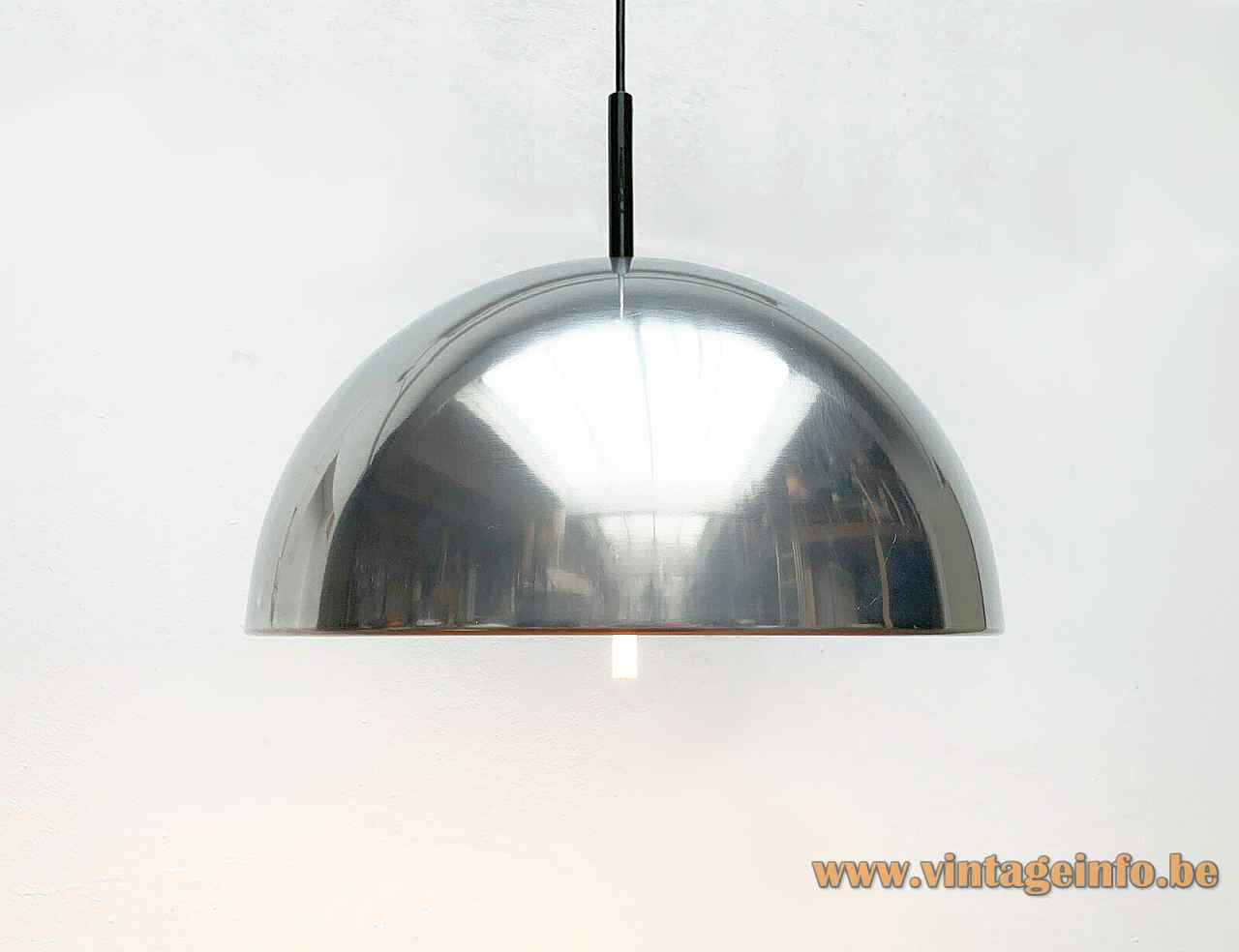 Staff pendant lamp 5071 chrome half round mushroom lampshade acrylic diffuser disc 1970s Germany Model 5071/73/74