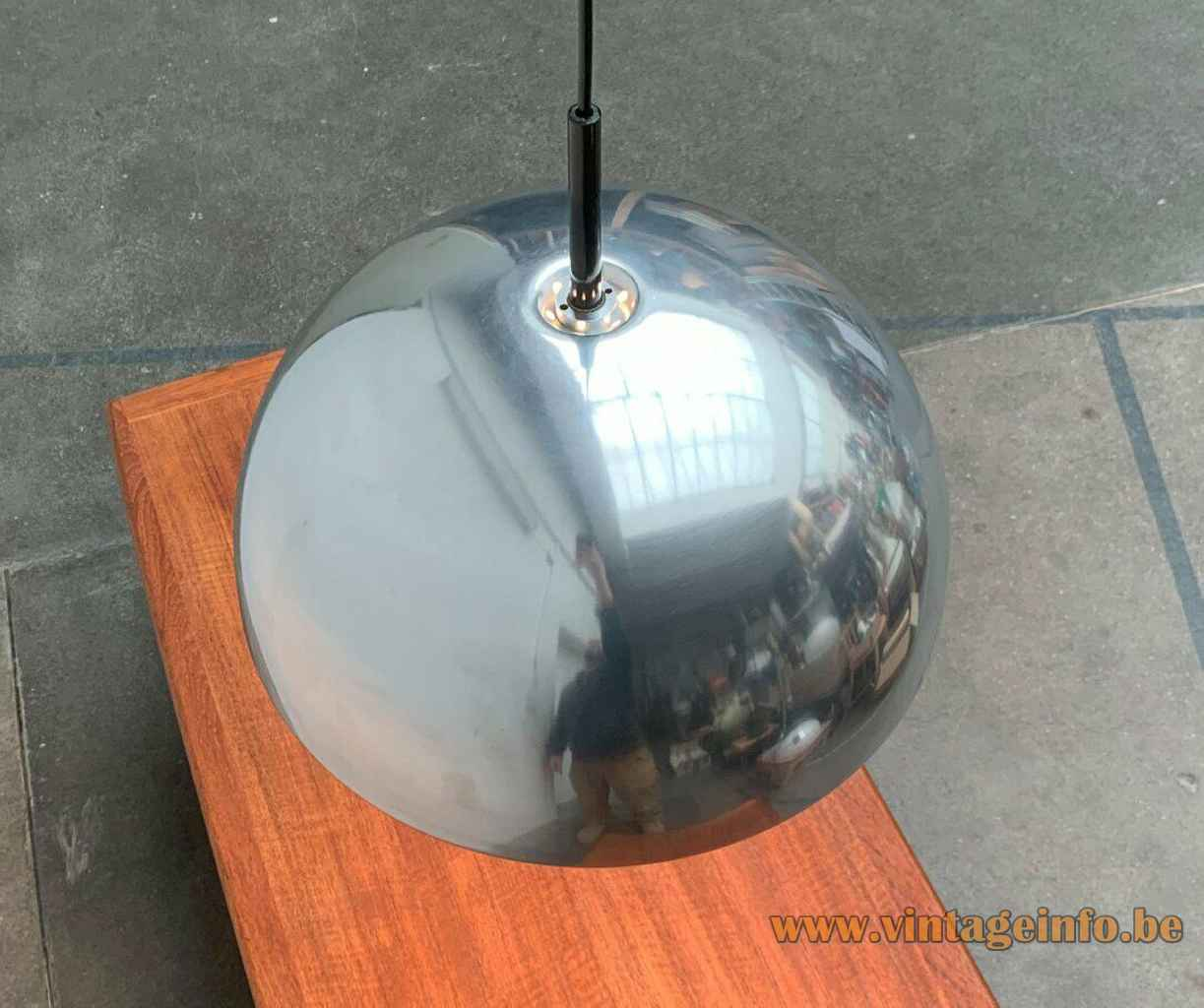 Staff pendant lamp 5071 chrome half round mushroom lampshade acrylic diffuser disc 1970s Germany top view