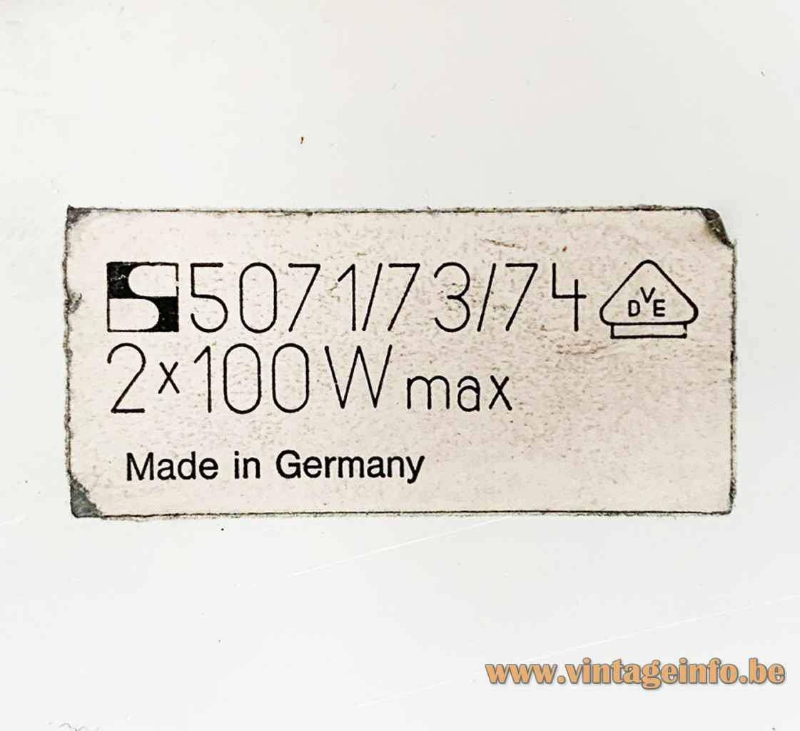 Staff pendant lamp 5071 label S-logo 2 x 100 watt maximum 1970s Germany model 5071/73/74