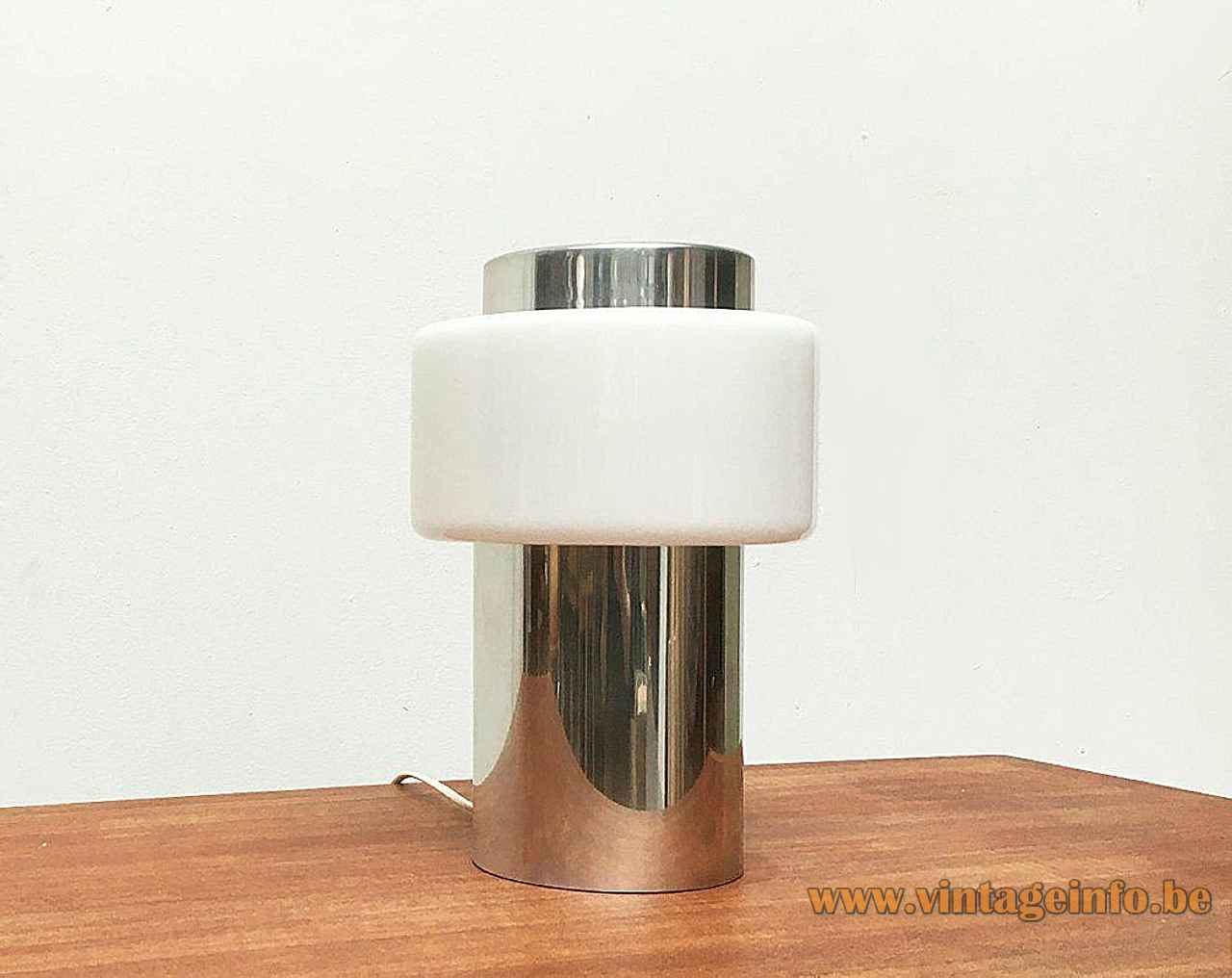 Temde chrome tube table lamp metal cylinder base opal glass ring lampshade 1970s Switzerland E27 socket