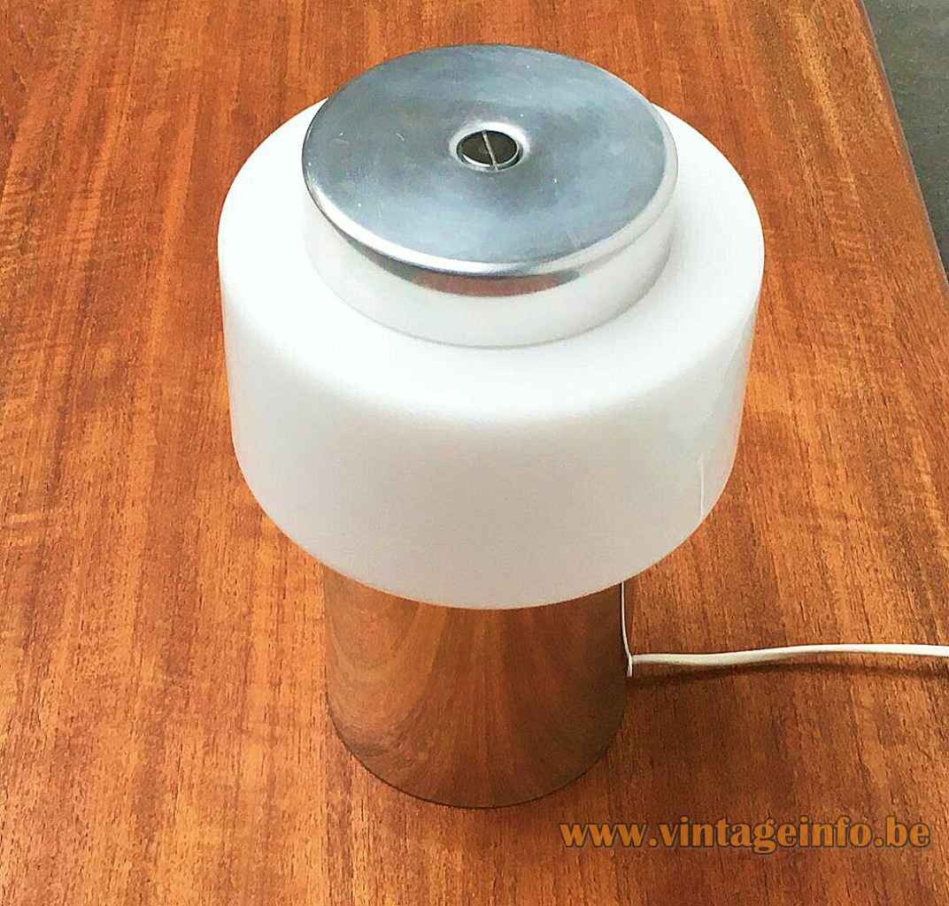 Temde chrome tube table lamp metal cylinder base opal glass ring lampshade 1970s Switzerland top view