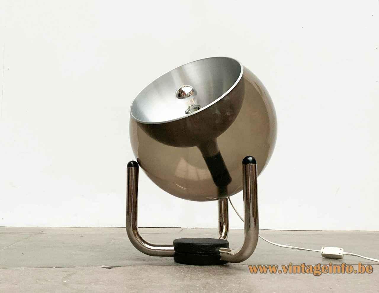 Temde smoked globe floor lamp reversed tripod base acrylic sphere lampshade aluminium reflector 1970s Germany Switzerland