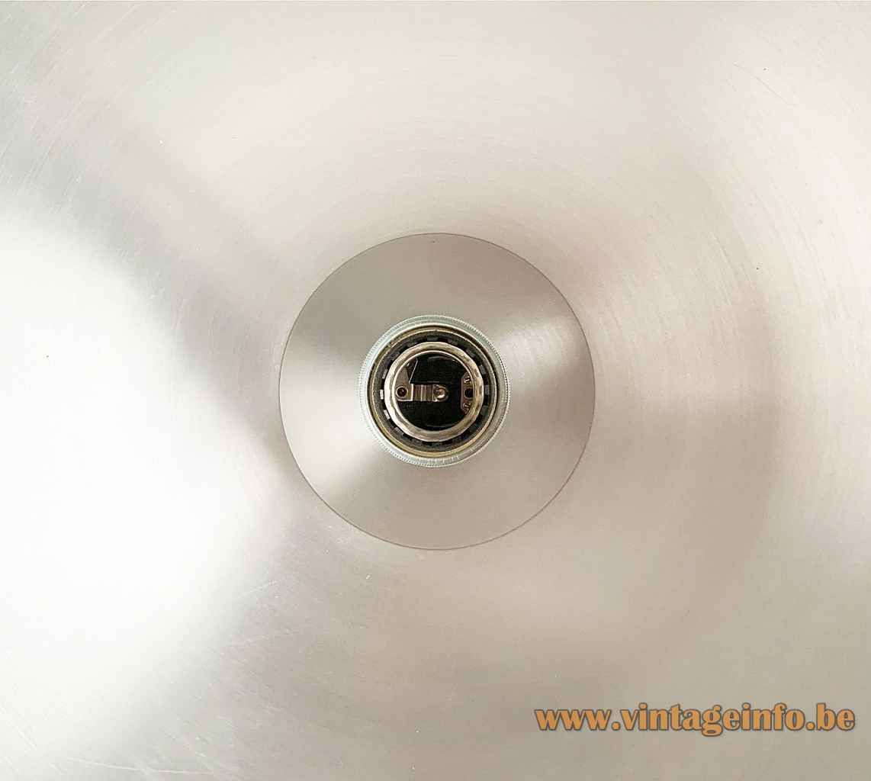 Temde smoked globe floor lamp inside view aluminium reflector E27 socket 1970s Germany Switzerland