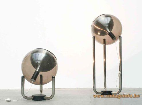 Temde smoked globe floor lamp big & small version chrome tubes sphere lampshade 1970s Germany Switzerland