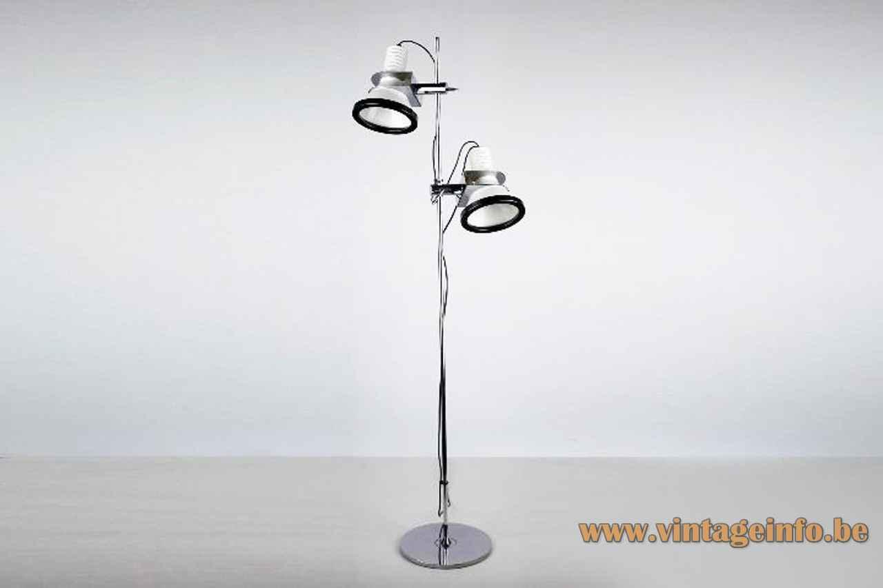 Tramo clamp floor lamp round chrome base & rod adjustable black & white lampshade design: Estudi Blanc 1970s