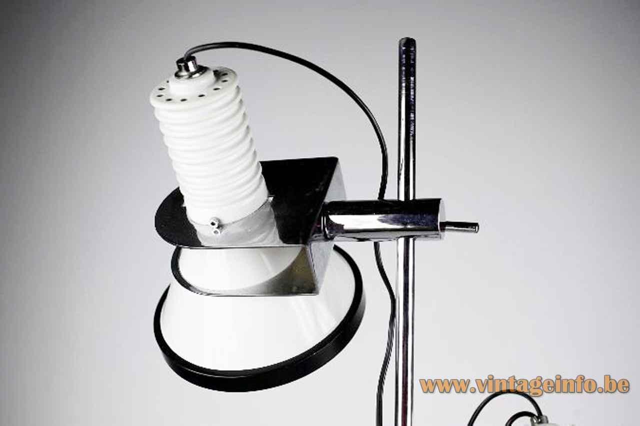 Tramo clamp floor lamp chrome adjustable black & white lampshade design: Estudi Blanc 1970s Spain