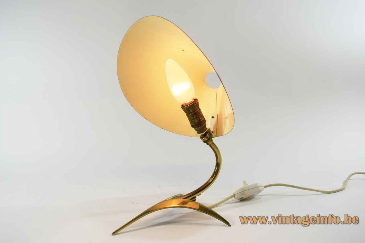1950s brass crow foot desk lamp tripod base & rod folded red aluminium lampshade 1960s Cosack Germany
