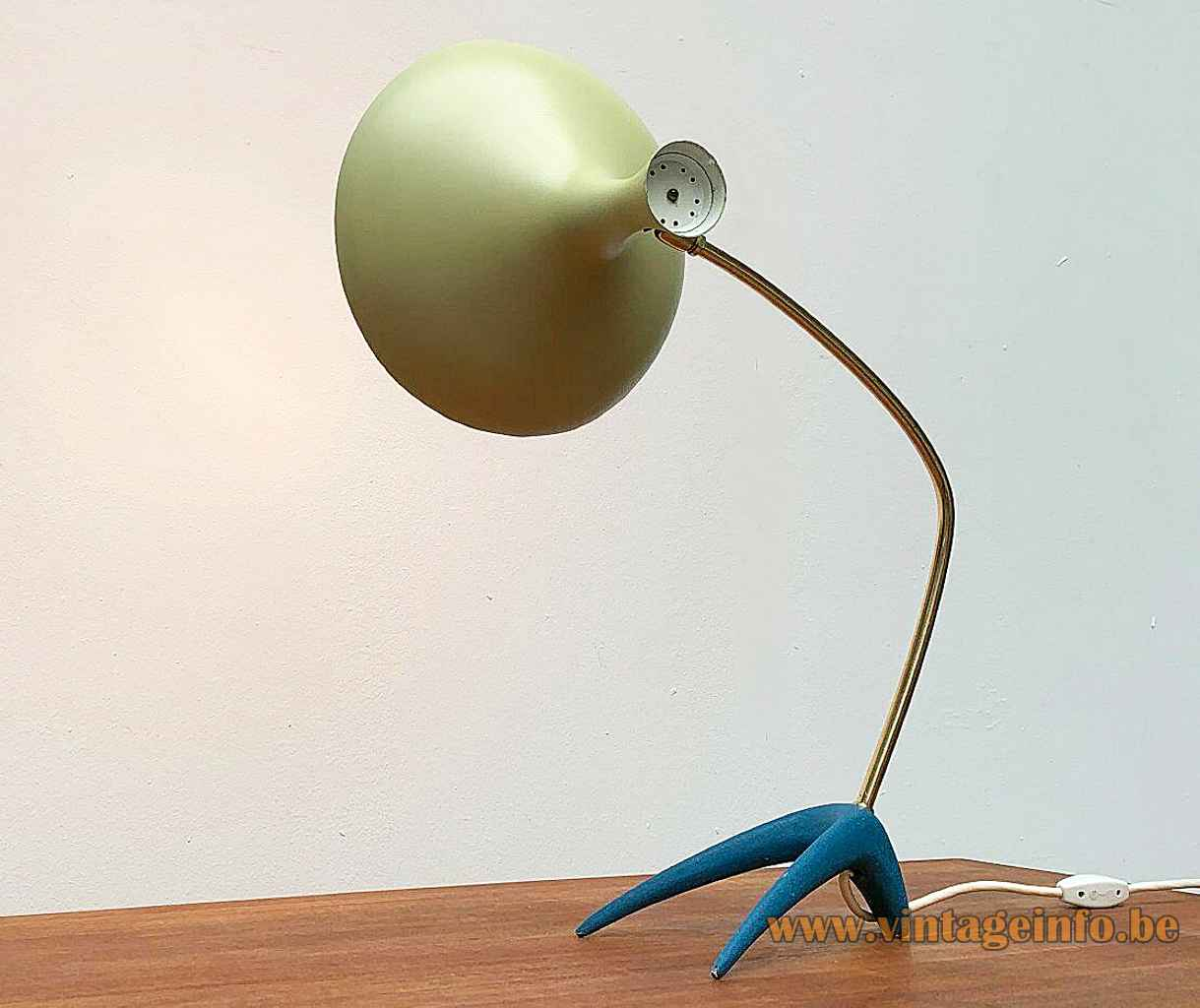 1950s Cosack crowfoot desk lamp blue cast iron base brass rod yellow diabolo lampshade 1960s Germany