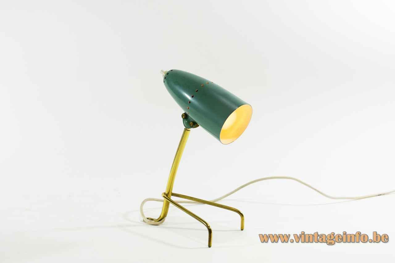 1950s Turquoise bedside lamp brass tripod base tubular adjustable lampshade table light 1960s Rupert Nikoll Austria
