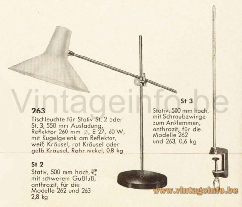 1960s SIS-Licht Desk Lamp 1964 Catalogue Picture - Design: Karl Lang, Germany