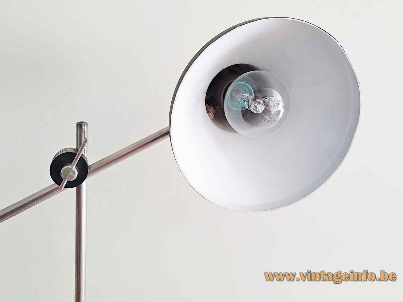1960s SIS-Licht desk lamp round black metal base & lampshade 2 chrome rods design: Karl Lang Germany