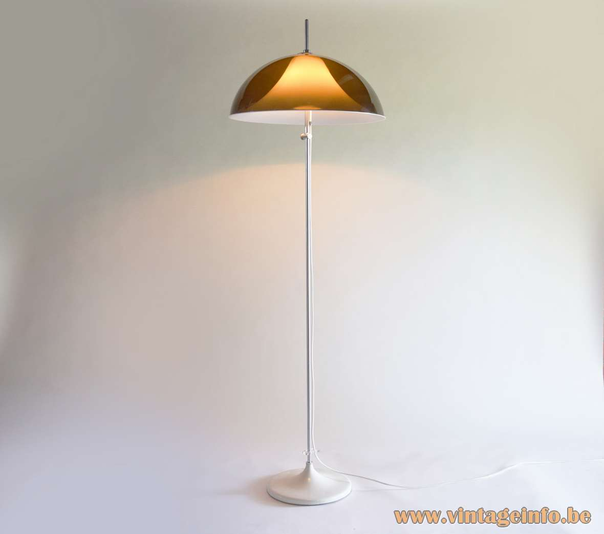 Artimeta acrylic floor lamp brown translucent mushroom lampshade white diffuser chrome rod round base 1960s 1970s