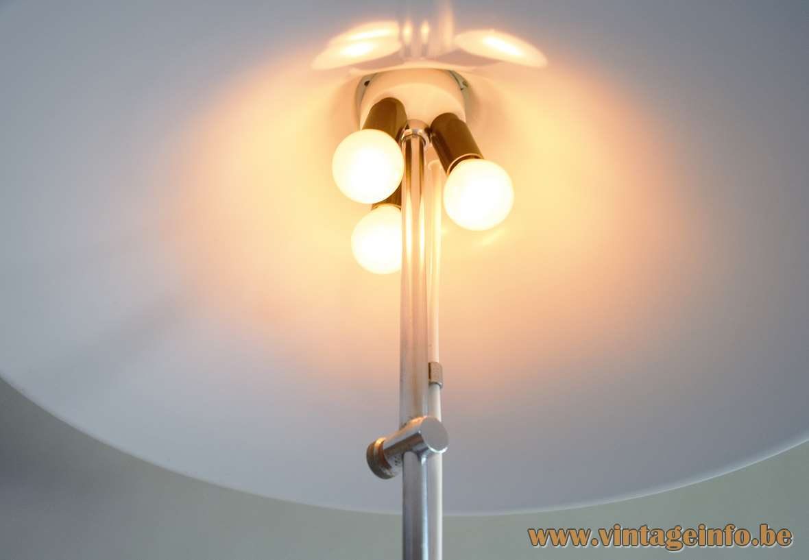 Artimeta acrylic floor lamp inside view mushroom lampshade white diffuser 1970s 3 E14 sockets Netherlands