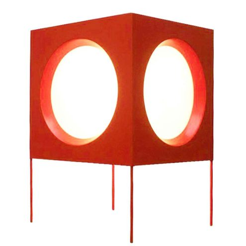 BAG Turgi cube floor lamp red metal lampshade 5 round white opal diffusers 1960s 1970s Switzerland