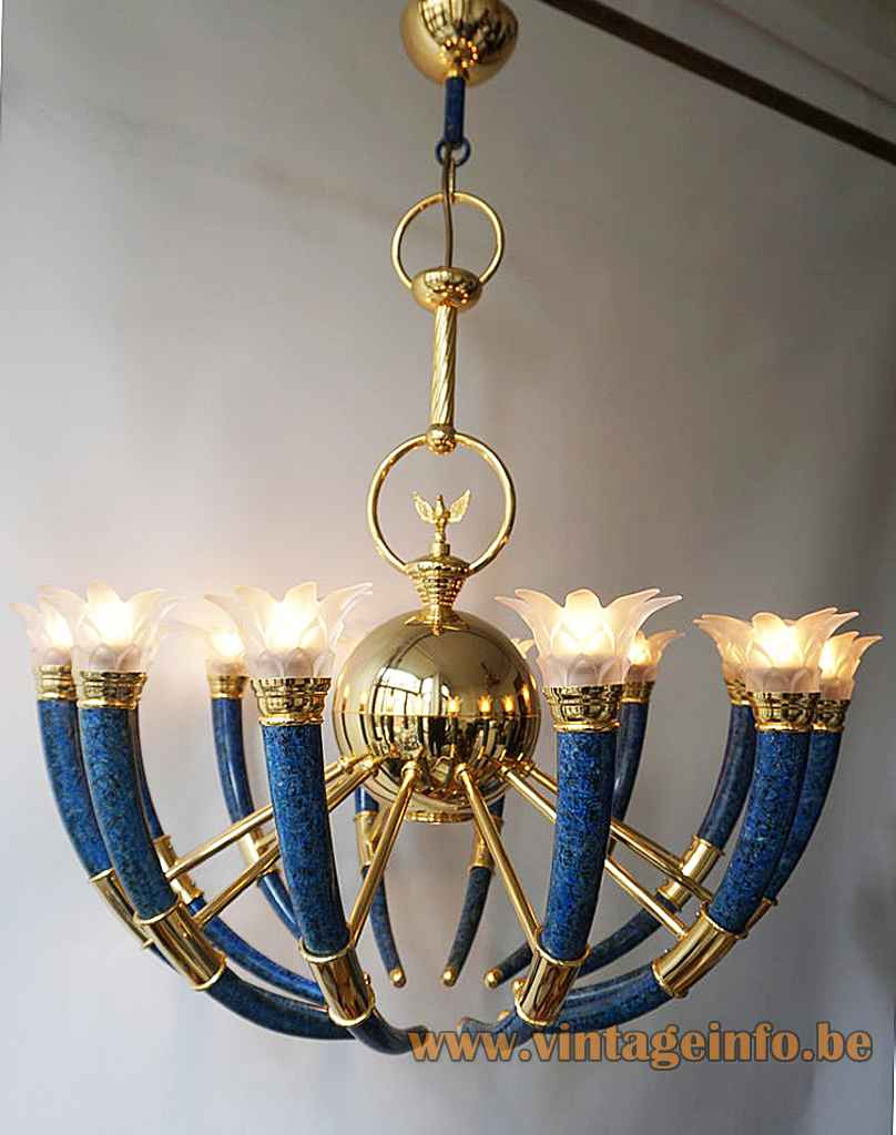 Banci Firenze La Traditione chandelier curved blue torch lampshade brass rods & eagle 1990s 2000s Italy