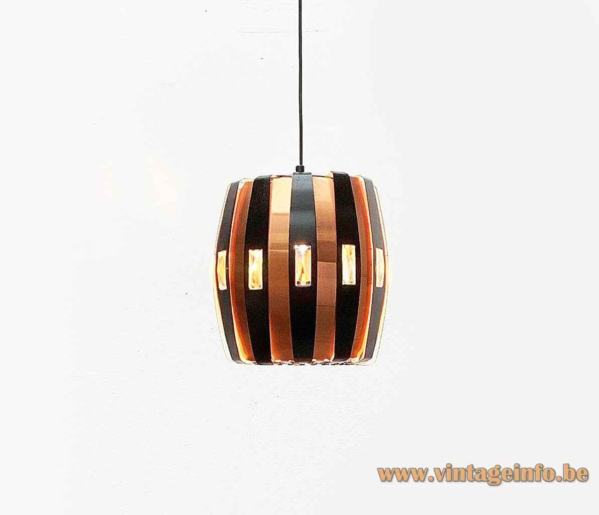 Coronell Elektro copper pendant lamp black convex folded slats lampshade 1960s design: Werner Schou 1970s Denmark