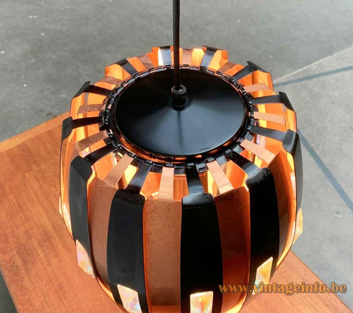 Coronell Elektro copper pendant lamp black convex folded slats lampshade 1960s design: Werner Schou top view
