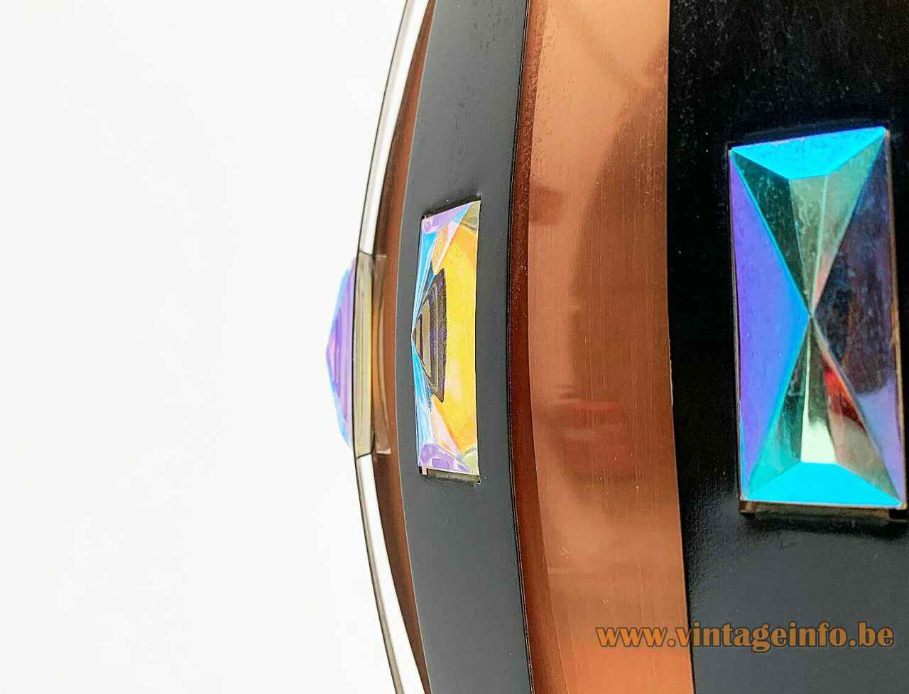 Coronell Elektro copper pendant lamp black convex folded slats lampshade 1960s design: Werner Schou close up