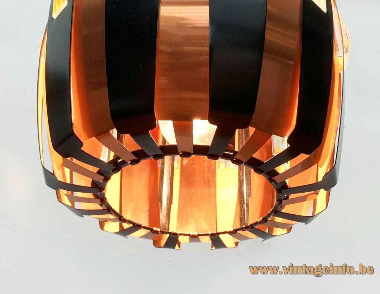 Coronell Elektro copper pendant lamp black convex folded slats lampshade 1960s design: Werner Schou bottom view