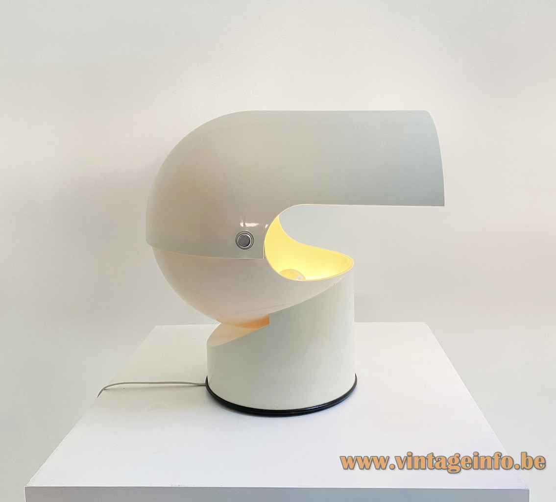 Gae Aulenti Artemide Mezzopileo table lamp round black bottom & white base adjustable helmet lampshade 1970s Italy