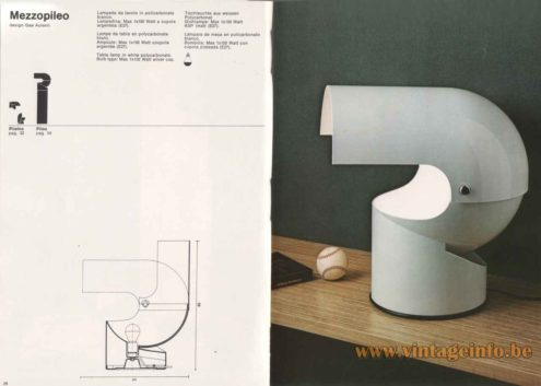 Gae Aulenti Artemide Mezzopileo Table Lamp - 1976 Catalogue Picture