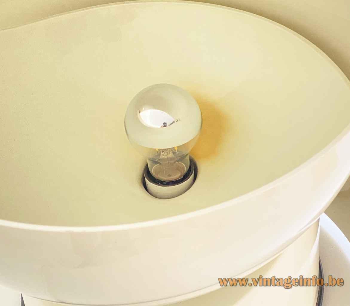 Gae Aulenti Artemide Mezzopileo table lamp round white base adjustable helmet lampshade E27 socket 1970s Italy