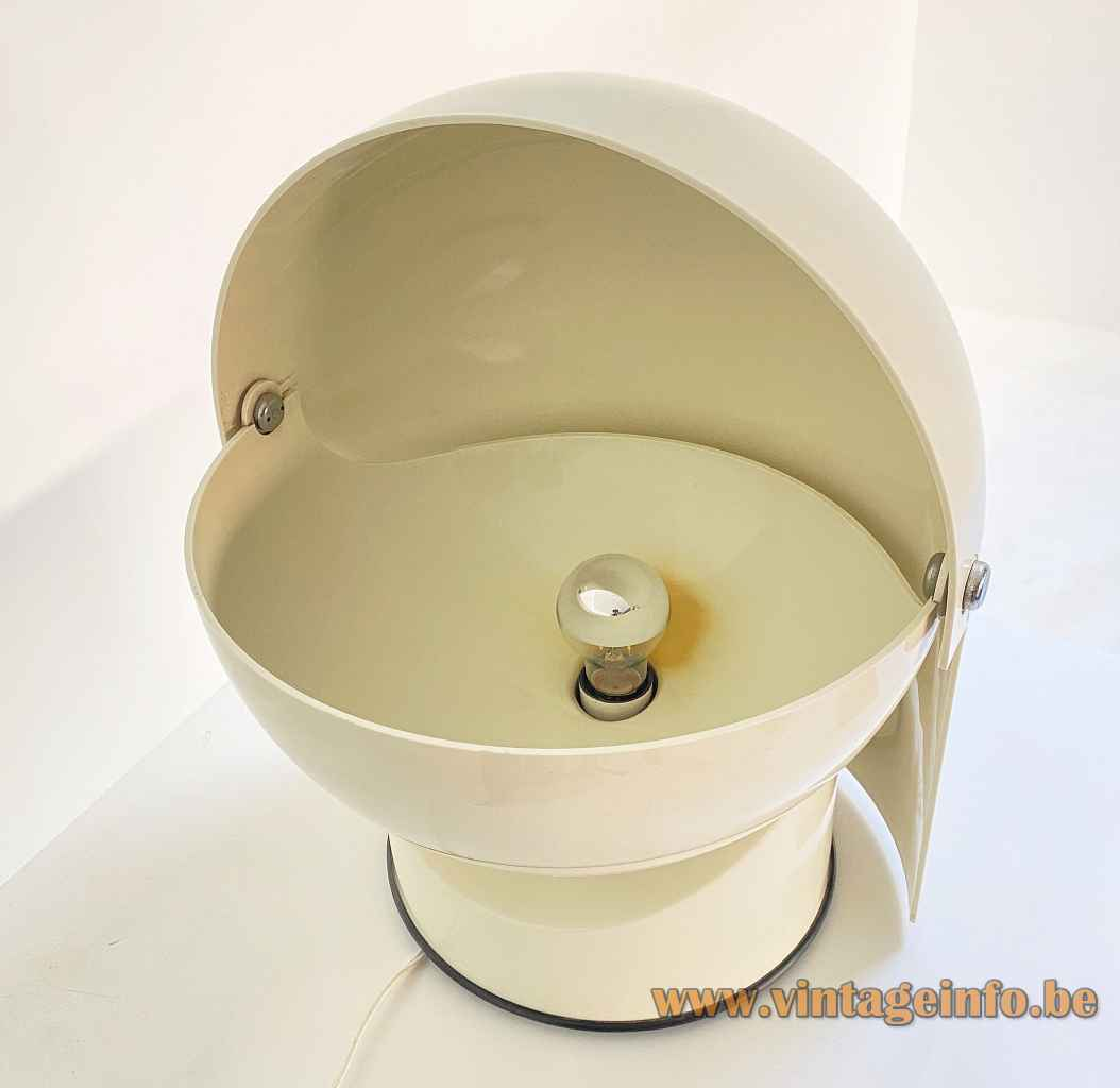 Gae Aulenti Artemide Mezzopileo table lamp round white base adjustable helmet lampshade inside view 1970s Italy