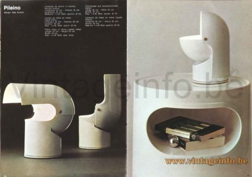 Gae Aulenti Artemide Pileino Table Lamp - 1973 Catalogue Picture