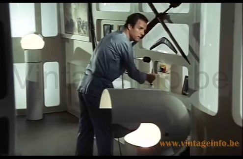 Gae Aulenti Artemide Pileo floor lamps used as a prop in the 1970s TV series Space 1999
