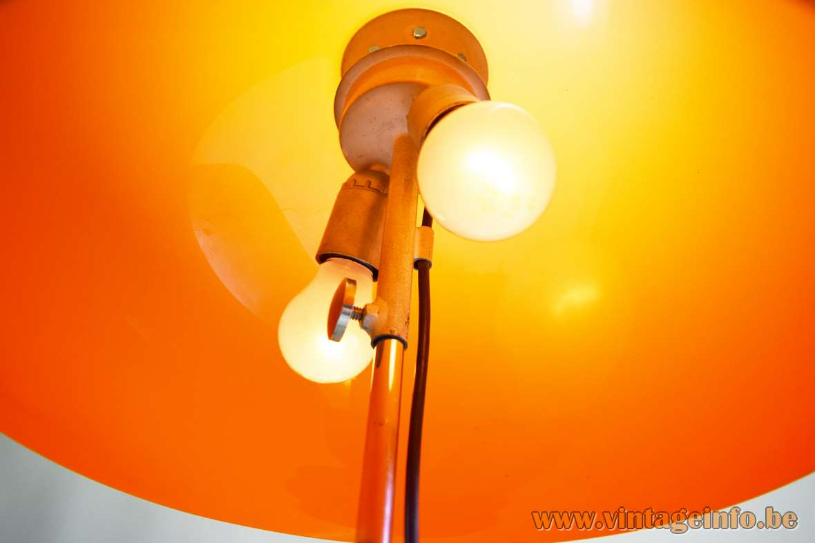 Hagoort mushroom floor lamp orange acrylic Perspex lampshade inside view 2 E27 sockets 1960s 1970s