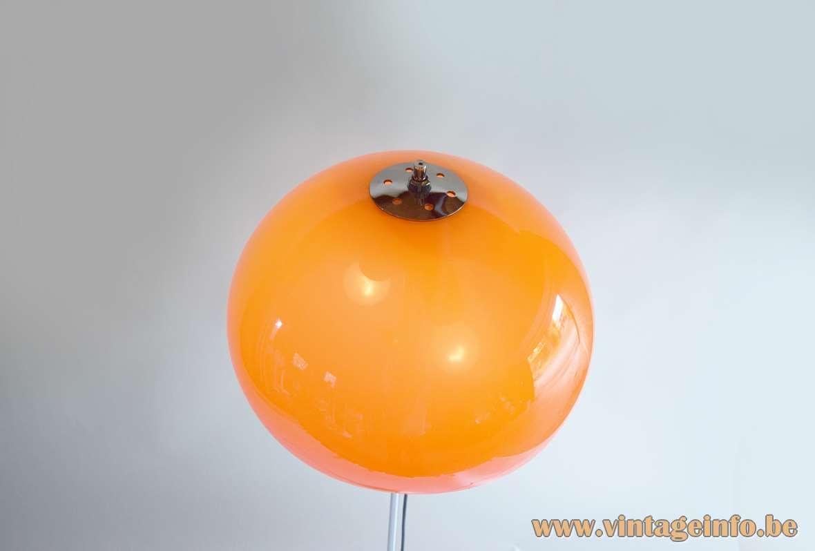 Hagoort mushroom floor lamp orange acrylic Perspex lampshade chrome lid top view 1960s 1970s