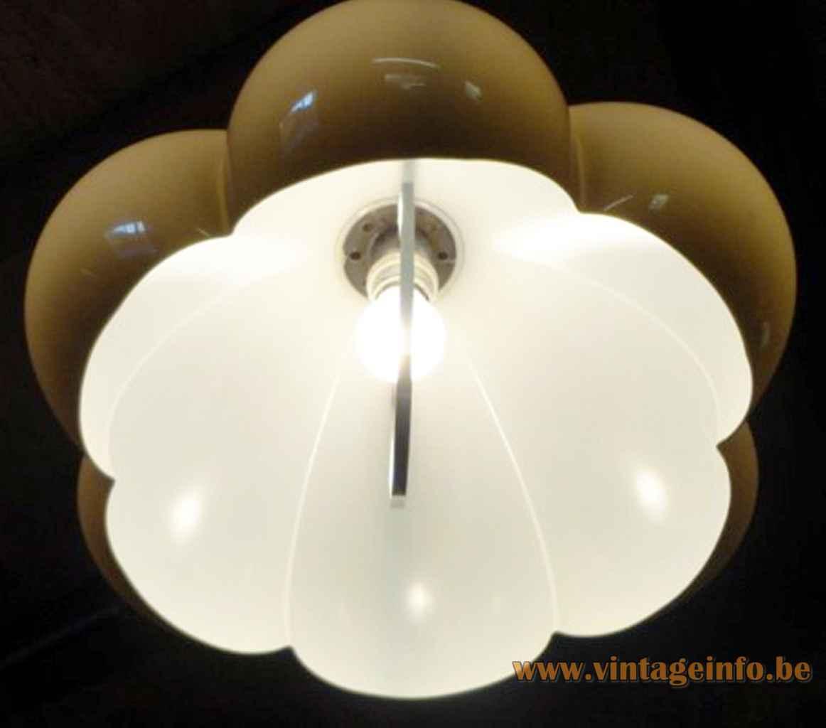 Herda acrylic bubble pendant lamp brown plastic pumpkin lampshade Rolly rise & fall mechanism 1970s inside