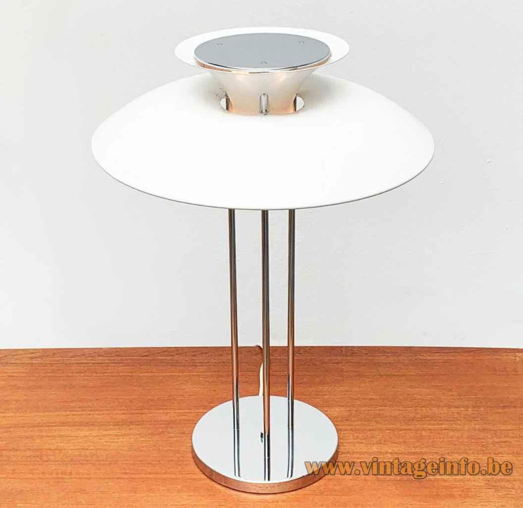 Louis Poulsen PH 5 table lamp round chrome base & rods aluminium mushroom lampshade design: Poul Henningsen