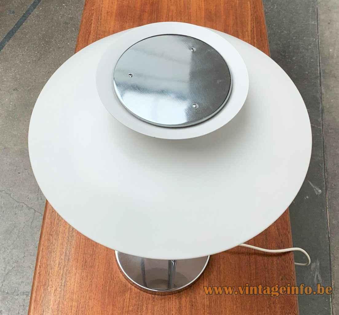 Louis Poulsen PH 5 table lamp top view aluminium & chrome lampshade design: Poul Henningsen 1950s 1960s