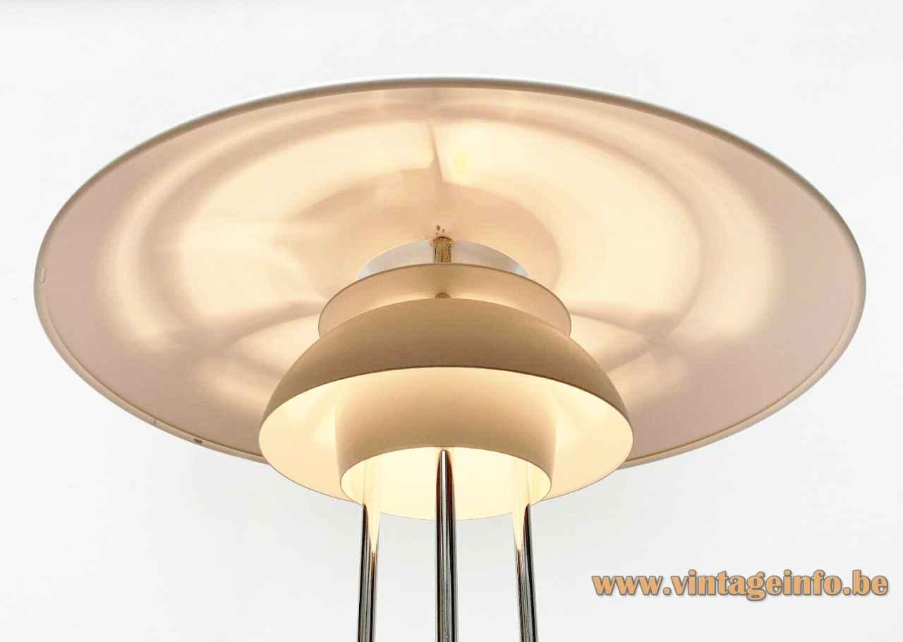 Louis Poulsen PH 5 table lamp inside view aluminium lampshade design: Poul Henningsen 1950s 1960s Denmark
