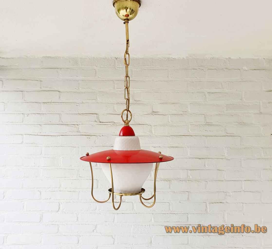 Massive lantern pendant lamp brass rods & chain opal glass lampshade red metal lid 1960s Belgium