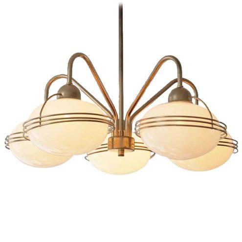 Massive opal globes chandelier 5 white glass lampshades gilded brass rods 1960s 1970s Belgium E27 sockets