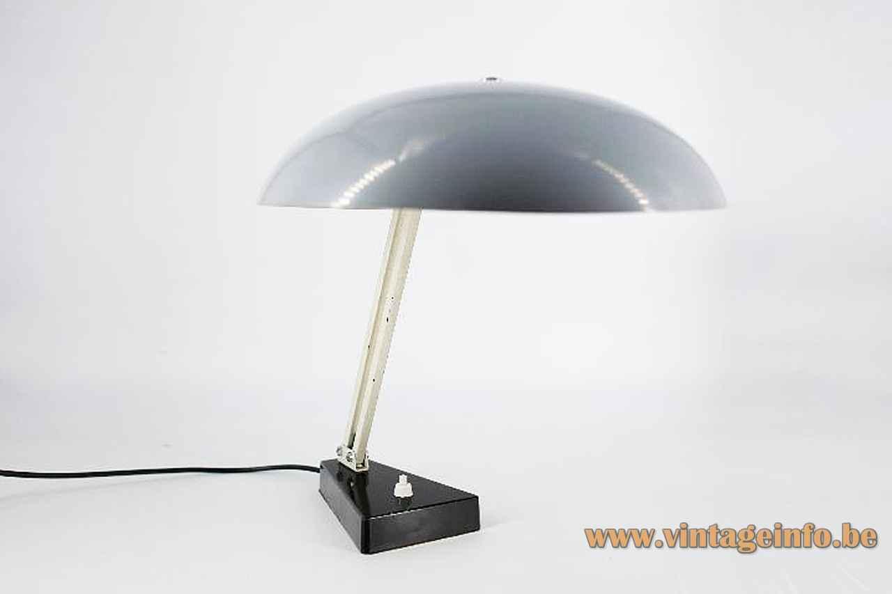 Metalarte Hala 145 desk lamp triangular base mushroom lampshade 1950s design: Herman Busquet Netherlands Spain 1960s