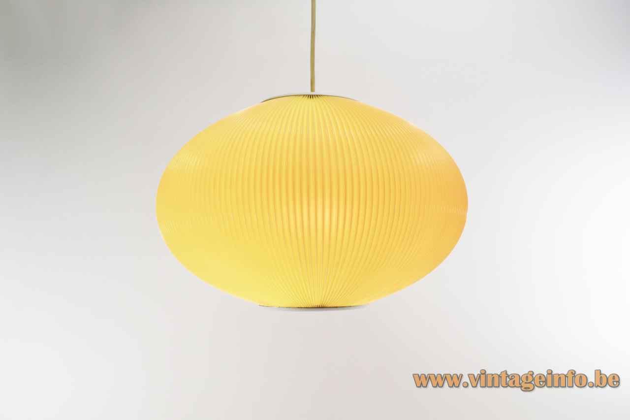 Oval globe Pearlshade style pendant lamp ribbed plastic celluloid Rispal lamp shade 1950s 1960s Germany Denmark