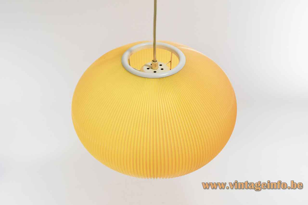 Oval globe Pearlshade style pendant lamp ribbed plastic celluloid Rispal lamp shade 1950s 1960s Germany top view