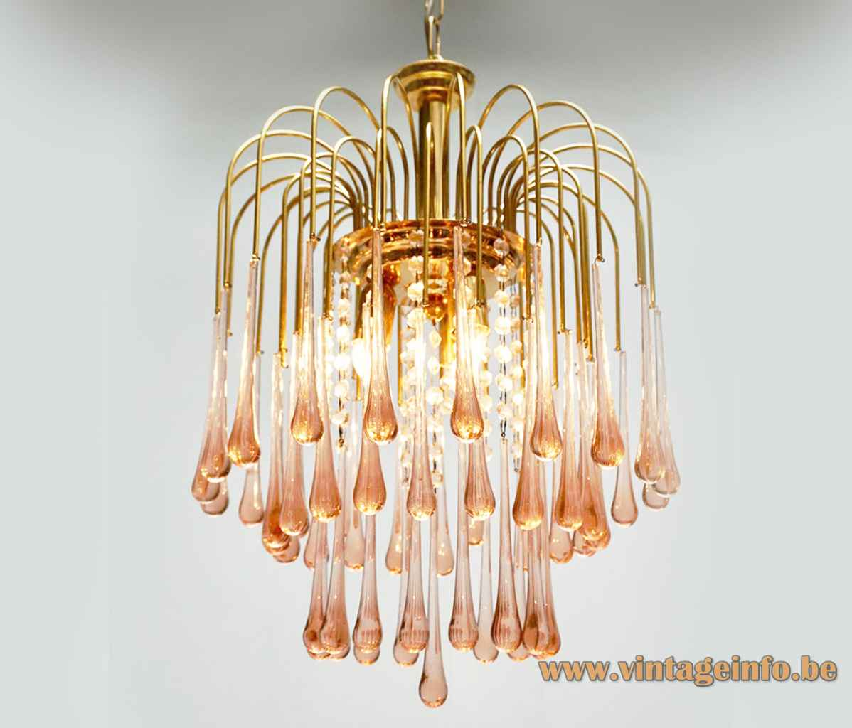 Pink glass teardrops chandelier gold coloured metal brass frame no Venini Murano 1980s 1990s Massive Belgium